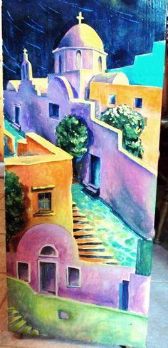 comodino dipinto a mano ,autore M Sambur