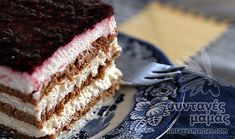 Yoghurt, biscuit and rasberry jam summer sweet Greek Sweets, Greek Desserts, Party Desserts, Greek Recipes, No Bake Desserts, Dessert Recipes, Fridge Cake, Icebox Cake, Pastry Shop