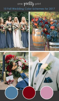 Fall Wedding Colors - Dusty Blue Burgundy Pale Pink