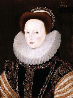 """""""Portrait of Anne Knollys, age 26, now Lady De La Warr"""", 1582, by Robert Peake the Elder (English, 1551-1619)"""