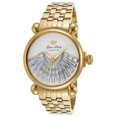 Glam Rock Women's Vintage Glam Gold-Tone Stainless Steel White Dial ($190) ❤ liked on Polyvore featuring jewelry, watches, vintage wristwatches, white dial watches, snap bracelet, clasp bracelet and vintage jewelry