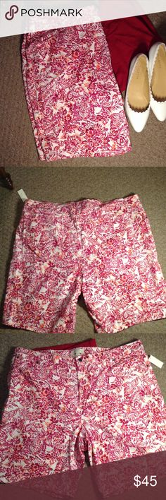 Talbot's Pink Floral Shorts Perfect shorts for the spring and summer! Floral print has pink and orange shoes. Made of 98% cotton, 2% spandex. Shirt that goes with short in photo is also for sale. In perfect condition, open to reasonable offers! Talbots Tops Tees - Long Sleeve