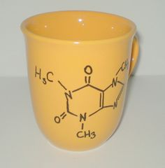 Coffee Caffeine Molecule Mug Yellow Geekery