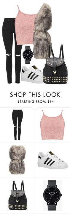 """""""Untitled #307"""" by neverbewe ❤ liked on Polyvore featuring Topshop, Boohoo, PINGHE, adidas Originals and The Horse"""