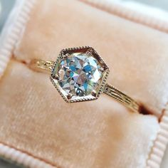"""6c7146155926c0 Trabert Goldsmiths on Instagram: """"Say it in rose gold. 💝 The facets in  this antique Old European cut diamond are perfect in our hexagonal setting."""