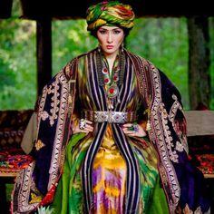 Uzbek old traditional ethnic clothes, central asian textiles.