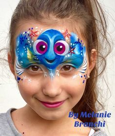 Dory face painting by Melanie Branchi Dory Makeup, Eye Makeup, Halloween Make Up, Halloween Face, Princess Face, Princess Crowns, Day Of Dead Tattoo, Animal Face Paintings, Art Visage