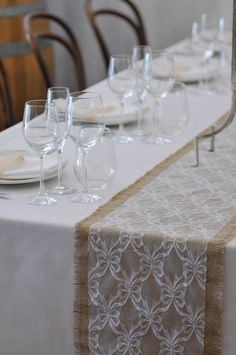 RUSTIC CHARM. Mix rustic and classic pieces with for a contemporary look. Wedding hire: Bentwood Chairs, Wine Barrel, Lace and Burlap Tablerunner, Spiegelau Glassware. #weddings #YourEventSolution