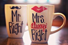 Mr. Right and Mrs. Always Right/ Lips and Mustache Coffee Mugs
