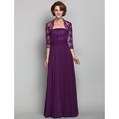 A-line Plus Sizes / Petite Mother of the Bride Dress - Grape Floor-length 3/4 Length Sleeve Chiffon / Lace – USD $ 139.99
