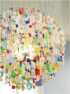 Trash as treasure. Put a spin on a light by hanging things you would usually throw out.