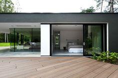 Terrace, Glass Sliding Doors, Bedroom, Modern Villa in Hattem, The Netherlands