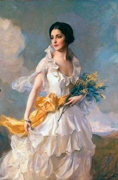 Laszlo, Philip Alexius de (b,1869)- Woman w Wildflowers, Windy Day