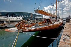 No words can describe this wooden beauty . Classic Sailing, Classic Yachts, Sailboat Yacht, Yacht Boat, Wooden Sailboat, Wooden Boats, Yacht Design, Boat Design, J Class Yacht