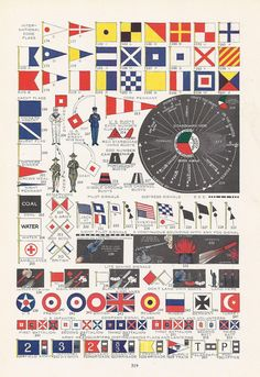 Army, Navy, Coast Guard, International Code of Signals, Vintage Illustration, Nautical, World War I Era, 1917. via Etsy.