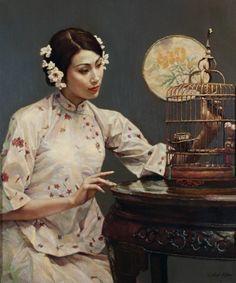 Chen Yifei - Portrait of a beauty with fan