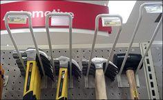 Hammers Hung Overhead on Heavy Duty Loop Hooks Framing Hammer, Hard Ware, Tool Store, Home Fix, Showroom Design, Carpentry, Hooks, Garage, Retail