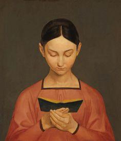 Gustav Adolph Hennig (1797-1869 German) • Reading Girl 1828