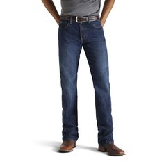Ariat's new Heritage Classic jeans redefine traditional denim. This men's jean is tailored with a classic-rise waist, a slim fit through the seat and thighs, and straight legs. Durable features include no-rub comfort inseams, anchored belt loops, and extra deep front pockets. 100% cotton denim. $49.95