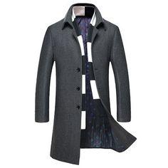 Men's Stand Collar Woolen Overcoats Long Slim Warm Windproof Trench Coat British Style Tops