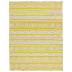 With bright yellow tones mixed with white, the Yellow Geo rug is a conscientious choice made from 100% natural fibers. Finished in bright colored fringe, each Geo rug is 2 rugs in 1 as each is completely reversible with contrasting designs on each side.