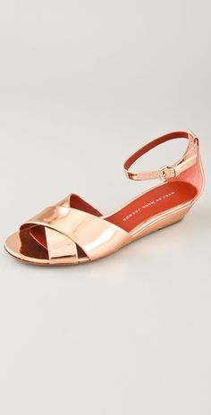 Marc by Marc Jacobs Crisscross Wedge Sandals in rose gold