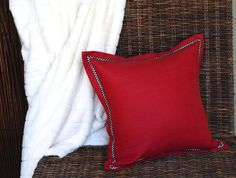 Lipstick Red Linen Pillow by StylishLiving1 on Etsy, $45.00