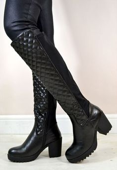 4a641f15ea4c Rock these chunky platform riding style knee boots with split quilted front  and fabric back design