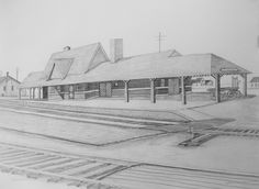 Oconto Depot, Chicago Northwestern RR. West side of Depot. Graphite on Paper, 18x24