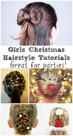 8 Festive Girls Christmas Hair Style Ideas with Tutorials In The Playroom : With Christmas party season around the corner, a fun and festive hair style is a great way to make an outfit really stand out. There are so many clever ideas and tutorials out th Little Girl Hairstyles, Trendy Hairstyles, Toddler Hairstyles, Asian Hairstyles, Girl Haircuts, Braid Hairstyles, Short Haircuts, Natural Hairstyles, Simple Hairstyles For Girls