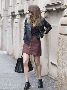 Nicoletta+Reggio+wears+the+button-front+skirt+trend+with+funky+black+brogues+and+a+cute+leather+jacket.+Total+Look:+OVS.+