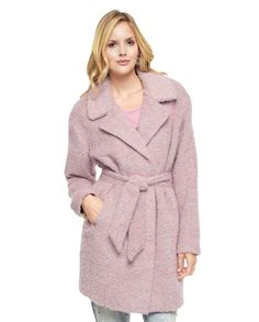 Model wears Brushed Wool Coat in Pink for Juicy Couture holiday 2015 Lookbook Photoshoot