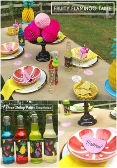 Fruity Flamingo Party table + free download