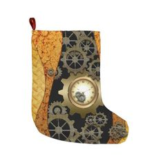 Awesome steampunk design with clocks and gears large christmas stocking Christmas Stickers, Christmas Themes, Christmas Cards, Large Christmas Stockings, Metal Clock, Personalized Stockings, Steampunk Design, Rusty Metal, White Elephant Gifts