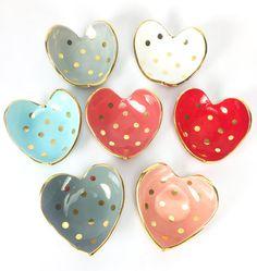 Heart shaped handmade ceramic ring dish in 22K gold luster overglaze with Polka Dots, Wedding Gift, Anniversary, Ring Dish