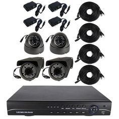 """""""This IntelliSpy high definition 4 channel surveillance system comes complete with 2 HD dome 2 HD bullet cameras 4 Channel HD DVR with 1 terabyte hard drive 4 HD plug and play 100 foot and 4 power adaptors The complete system m Security Surveillance, Security Alarm, Surveillance System, Security Service, Security Equipment, Wireless Home Security Systems, Bullet Camera, Home Protection, Dome Camera"""