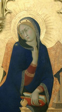 Simone Martini ~ The Annunciation and Two Saints (St. Margaret and St. Ansanus) (detail of Mary), 1333