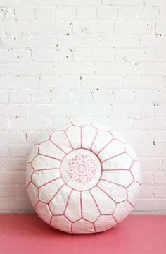 Pink & white leather pouf. Perfect for a little girl's room, Baba Souk