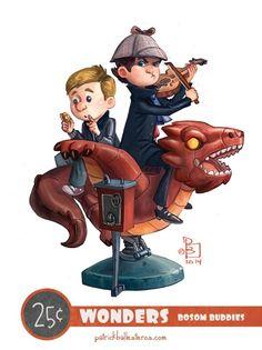 Sherlock and John - Geeky Characters as Kids on Kiddy Rides Fan Art
