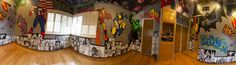 Superhero Room. Graffiti walls with Marvel and DC characters and outer space ceiling. Hulk, Joker, Captain America, Spider-Man, Iron Man, Batman, Wolverine and More!    - Morgan Richardson