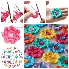 Do not miss these 34 magnificent flower patterns in crochet, with step by step tutorial. The crochet flowers are very useful … Read more. Crochet Motifs, Crochet Buttons, Diy Buttons, Crochet Flower Patterns, Crochet Flowers, Crochet Hooks, Knit Crochet, Knitting Patterns, Yarn Crafts