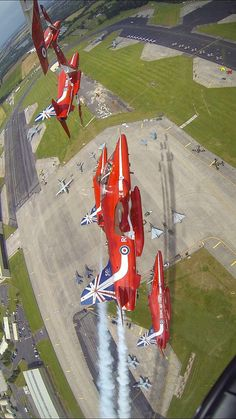 Red Arrows over Fairford Military Jets, Military Aircraft, Fighter Aircraft, Fighter Jets, Raf Red Arrows, Jet Plane, Royal Air Force, Aviation Art, Air Show