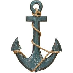 Weathered anchor wall decor with wrapped rope detailing. Product: Wall décor Construction Material: MDF ...