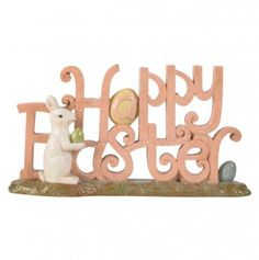 Pink Happy Easter Sign with Bunny