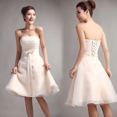 Strapless with pleated bodice a-line organza bridesmaid dress