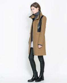 Image 1 of COMBINED FAUX LEATHER COAT from Zara