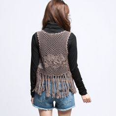VANCL Crochet Knit Slouchy Tassel Vest Brown SKU:161535
