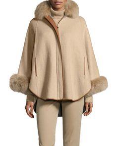 W06DZ Loro Piana Baby Cashmere Poncho w/Fox Fur Collar, Golden Shade