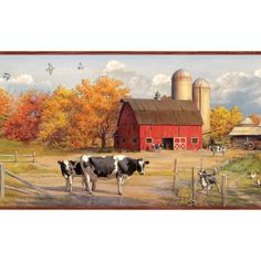 Farm Scene Landscapes Ll50221b Fall Deer And Farm Scene