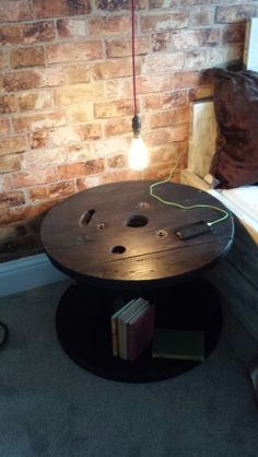 RECLAIMED Cable drum DIY bed side table